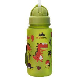 AlpinTec Water Canteen Kids 400Ml Dino With Straw Green C-400GN-1 4891327724238