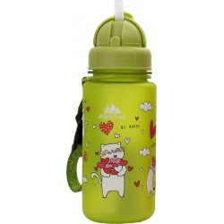 AlpinTec Water Canteen Kids 400Ml Cats With Straw Green C-400GN-4 4891321737890