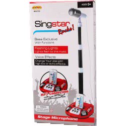 Toys-shop D.I Sing Star Rocks Stage Microphone With Base, Sounds, Lights And MP3 - 2 Colours JM083029 6990119830299