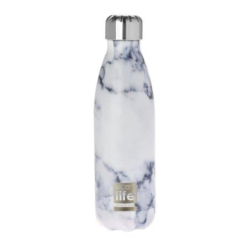 eco life Μεταλλικό Ανοξείδωτο Θερμός Μπουκάλι 500Ml Marble - Λευκό 33-BO-3019 5208009000433