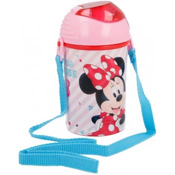 Stor Minnie Mouse Plastic Water Cantee Pop Up Flip 450 Ml B18869 8412497188697