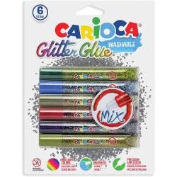 CARIOCA Glitter Glue Mix Κόλλα Με Γκλίτερ 6 Τεμάχια C42112 8003511421120