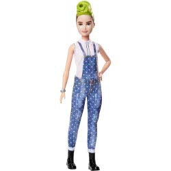 Mattel Barbie Fashionistas 124 Original Doll With Green Striped Mohawk Wearing Denim Overalls FBR37 / FXL57 887961694512