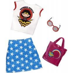 Mattel Barbie DC Comics Wonder Woman Blue Star Dress White Top FYW81 / FXK85 887961694277