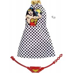 Mattel Barbie Πρωϊνά Σύνολα - Διάσημες Μόδες - DC Comics Wonder Woman Polka Dot Dress Fashion FYW81 / FXK86 887961693911