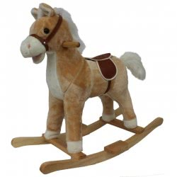 Skorpion Wheels Ride On Plush Horse Beige With Wooden Base 503363 5201670999860