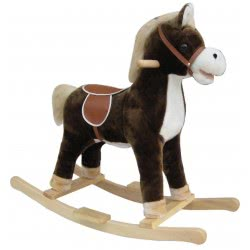 Skorpion Wheels Ride On Plush Horse Brown With Wooden Base 503316 5201670999846