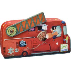 Djeco Silhouette Puzzles - 16Pcs The Fire Truck - 16Pcs 07269 3070900072695
