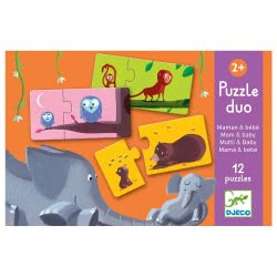 Djeco Puzzle Duo Mom And Baby 12 Puzzles 24 Pieces 08157 3070900081574