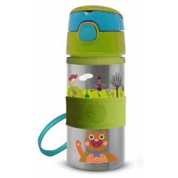 Oops Stainless Steel Water Bottle With Straw 400Ml 6M+ Forest X30-41005-10 8033576719825