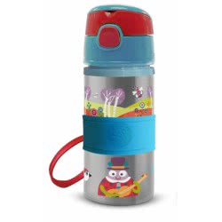 Oops Stainless Steel Water Bottle With Straw 400Ml 6M+ World X30-41005-30 8033576719849