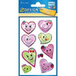 ZDesign Avery Zweckform Hearts Metalic Stickers 9 Pieces 54051 4004182540510
