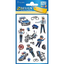 ZDesign Avery Zweckform Metallic Stickers Design Police 16 Labels 56794 4004182567944