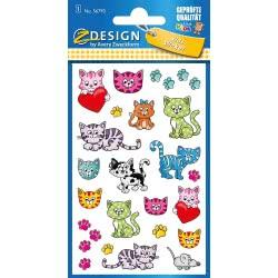 ZDesign Avery Zweckform Metallic Stickers 27 Labels, Kittens 56793 4004182567937