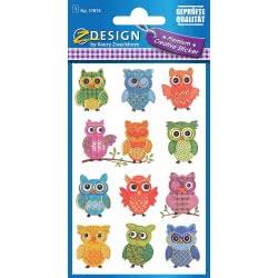 ZDesign Avery Zweckform Owls Stickers 12 Pieces 57874 4004182578742