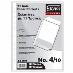 SKAG Ζελατίνες Α4 Με 11 Τρύπες Σετ 10 Τεμαχίων 221627 5201303221627