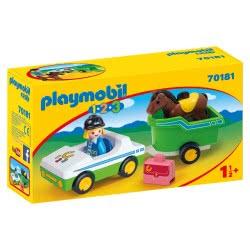 Playmobil 1.2.3 Όχημα Με Τρέιλερ Μεταφοράς Αλόγου 70181 4008789701817
