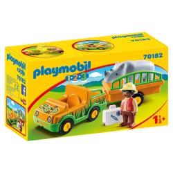 Playmobil 1.2.3 Όχημα Ζωολογικού Κήπου Με Ρινόκερο 70182 4008789701824
