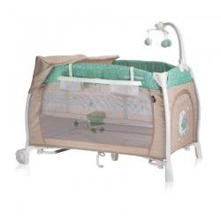 Lorelli Ilounge Baby Folding Umbrella Cot Green Beige Moon Bear 1008002 1932 3800151962526