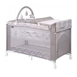Lorelli Verona 2 Tier Folding Umbrella Bed Grey Lines 1008027 1941 3800151963059