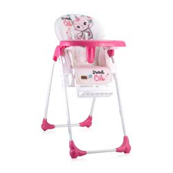 Lorelli Highchair Oliver, Backrest And Height Adjustable, Sweet Pink Cat 1010025 2031 3800151903857