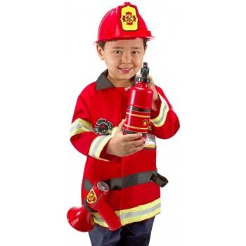 14834 Melissa /& Doug Fire Chief Costume for Role Play Dress-Up Set 6 pcs