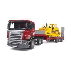 bruder Επικαθήμενο φορτηγό Scania με μπουλντόζα Cat BR003555 4001702035556