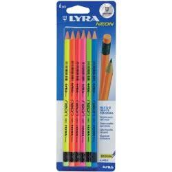 Diakakis imports Lyra Μολύβι Με Γόμα Hb Neon 6Tem Blister 0099541 8000825013485