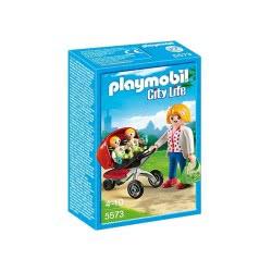 Playmobil Μαμά με δίδυμα και καροτσάκι 5573 4008789055736
