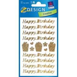 ZDesign Αυτοκόλλητα Ζ Design Happy Birthday Gold 55491 4004182554913