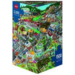HEYE Παζλ 1500 Cartoon (τρίγωνο κουτί) Schone - Κυκλοφοριακό κομφούζιο 29698 4001689296988