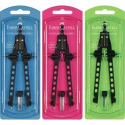 Faber-Castell Διαβήτης Factory Με Δακτύλιο Σε 3 Χρώματα 174314 4005401743354