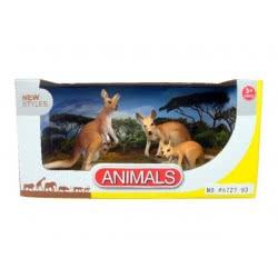 Toys-shop D.I Benteng Animals Οικογένεια 2 Καγκουρό με μωρό και βρέφος στην κοιλιά Σετ JZ042297 5202015422975