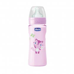 Chicco Πλαστικό Μπιμπερό με θηλή σιλικόνης γρήγορης ροής, Well Being Pink, 330ml 4m+ 20635-11 8058664058013