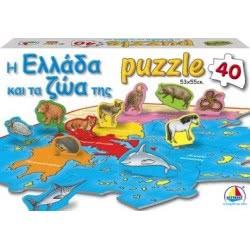 Desyllas Games Δεσύλλας Puzzle 40 - Η Ελλάδα και τα ζώα της 100419 5202276004194