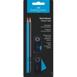 Faber-Castell Σετ γραφής 2 μολύβια, γόμα και ξύστρα μπλε μαύρο 12308870 4005402184910