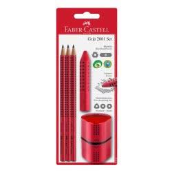 Faber-Castell grip trio σετ με 3 μολύβια, γόμα, ξύστρα - κόκκινα 12308935 5201612771943