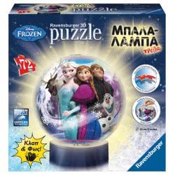 Ravensburger Disney Frozen Puzzleball Παζλ 3D Μπάλα λάμπα 72τμχ 12183 4005556121830