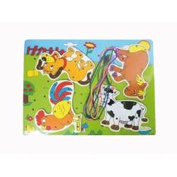 Toys-shop D.I Puzzle Ξύλινο σφηνώματα Ζωάκια φάρμας με σχοινάκι JK073270 6990416732708
