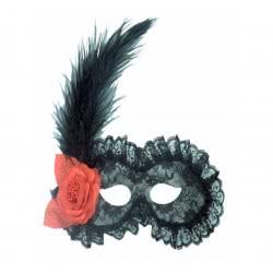 CLOWN Μάσκα Ματιών Με Δαντέλα Και Φτερό Μαύρη Dlx 70550 5203359705502