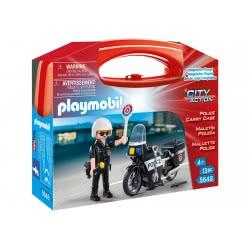 Playmobil Βαλιτσάκι Αστυνόμος Με Μοτοσικλέτα 5648 4008789056481