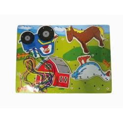Toys-shop D.I Puzzle Ξύλινο σφηνώματα με σχοινάκια Αγρόκτημα JK073275 6990416732753