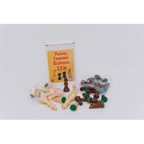 Argy Toys Πιόνια Σκάκι Ξύλινα με τσόχα 8cm 8817-1 6928932100091
