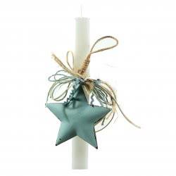 Λαμπάδες Decor Λαμπάδα Πλακέ Λευκή Με Γαλάζιο Αστέρι 9722007 5205902220074