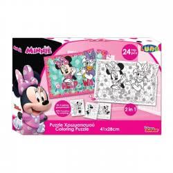 LUNA OFFICE Puzzle Χρωματισμού 2 Όψεων 24 Τεμάχια Minnie 561649 5205698210990