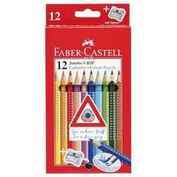 Faber-Castell Ξυλομπογιές Jumbo Grip 12χρώματα + ξύστρα 12305601 4005401109129