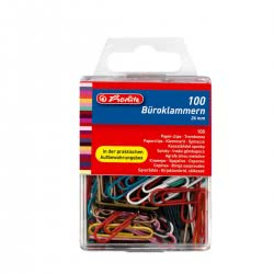 herlitz paper clip 26 mm assorted colours 100 pieces 8760811 4008110032757