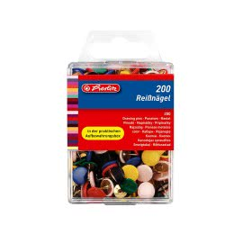 Herlitz drawing pin assorted colours 200 pieces 8770109 4008118770101