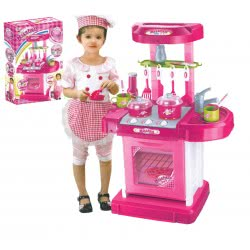Toys-shop D.I Β/Ο Kitchen Chef Κουζίνα Βαλίτσα Ροζ 4-04658 5205812060715