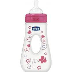 Chicco Well Being Πλαστικό Μπιμπερό με Λαβή Ροζ, Θηλή Σιλικόνης, 240ml A60-75725-11 8058664008223